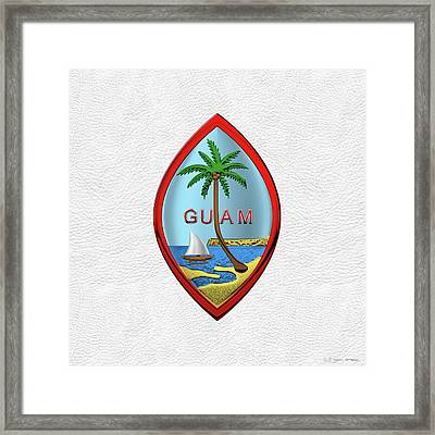 Coat Of Arms Of Guam - Guam State Seal Over White Leather Framed Print