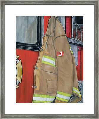 Coat Of Courage- Canadian Flag Framed Print by Bobbi Whelan