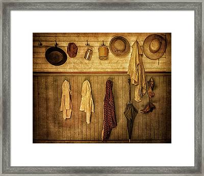 Coat Room At The Old Schoolhouse Framed Print by Priscilla Burgers