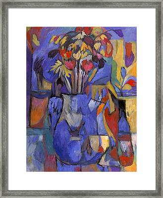 Cobalt Rose Framed Print