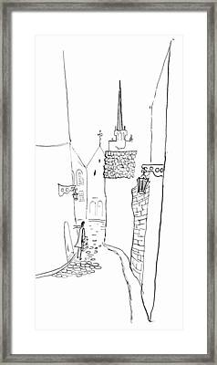 Cobbled Small Street In The Old Town. Framed Print by Olga Goncharenko