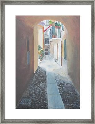 Cobblestone Alley Framed Print