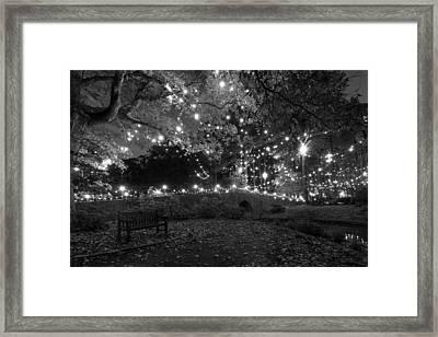 Cobblestone Bridge In December Framed Print