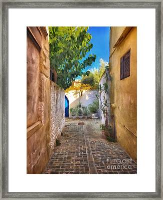 Cobblestone Road In Crete Framed Print