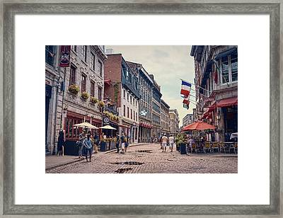Cobblestone Streets In Old Montreal  Framed Print by Maria Angelica Maira