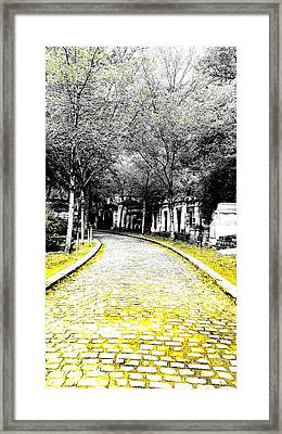 Cobblestone Streets In Yellow Framed Print
