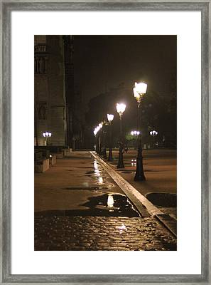 Cobblestones And Street Lamps Framed Print