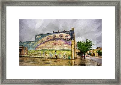 Coca-cola And Small Town Usa Framed Print by JC Findley