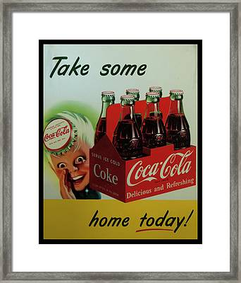 Framed Print featuring the photograph Coca Cola Antique Sign by Chris Flees