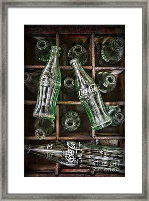 Coca Cola Bottles In A Vintage Crate Framed Print by Paul Ward