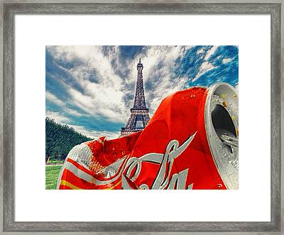 Coca-cola Can Trash Oh Yeah - And The Eiffel Tower Framed Print by Tony Rubino