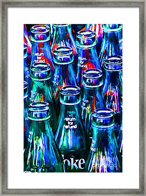 Coca-cola Coke Bottles - Return For Refund - Painterly - Blue Framed Print by Wingsdomain Art and Photography