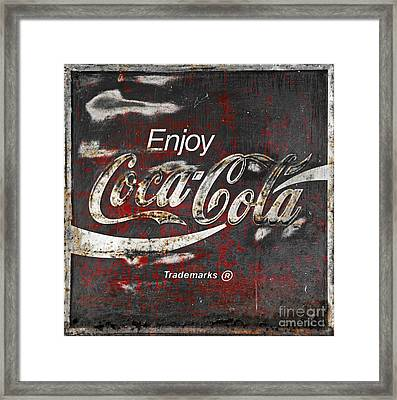 Coca Cola Grunge Sign Framed Print