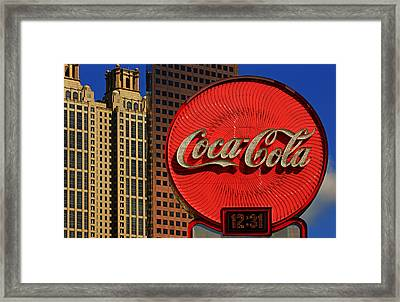 Coca Cola Neon Sign Atlanta Framed Print by Daniel Woodrum