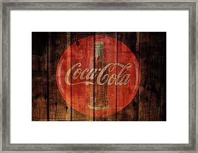 Coca Cola Old Grunge Wood Framed Print