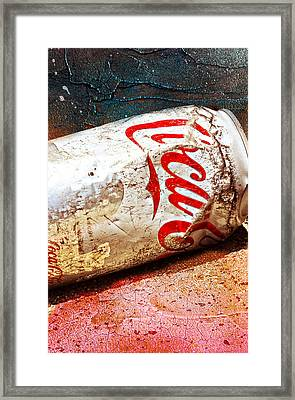 Framed Print featuring the photograph Coca Cola On The Rocks By Mike-hope by Michael Hope