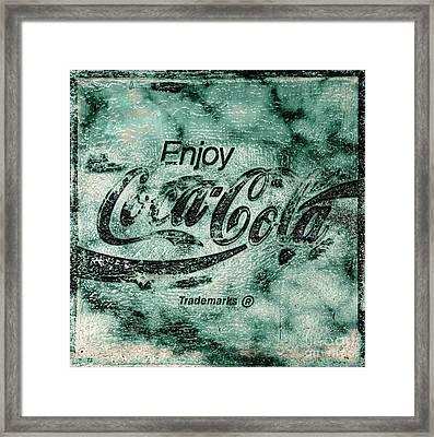 Coca Cola Sign Mottled Dusty Teal Accent Black Framed Print