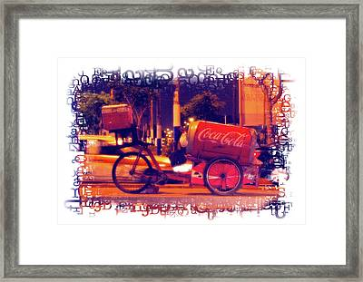 Framed Print featuring the photograph Coca Cola Tricycle Bin - Lima by Mary Machare