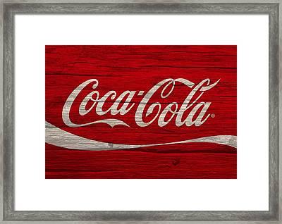 Coca Cola Worn Wood Sign Framed Print