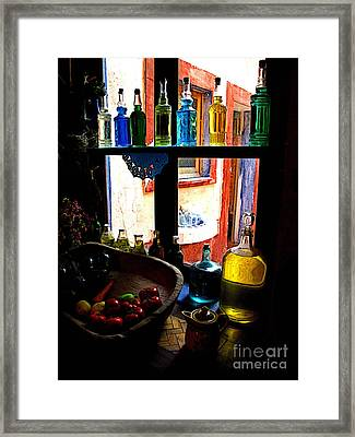 Cocina Window Framed Print by Mexicolors Art Photography
