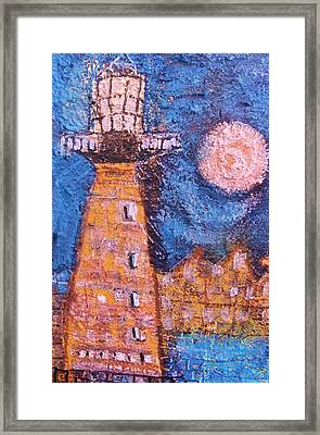 Cock-eyed Lighthouse  Framed Print by Anne-Elizabeth Whiteway