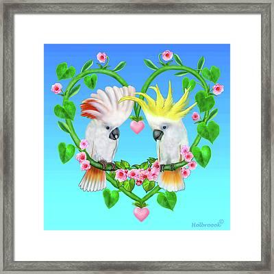 Cockatoos Of The Heart Framed Print by Glenn Holbrook