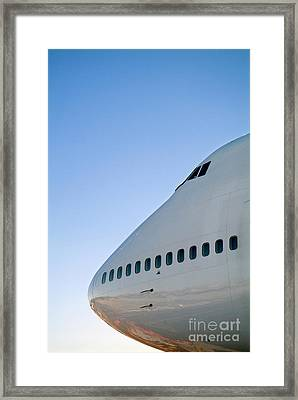 Cockpit Of A Boeing 747 Aircraft Framed Print by Sami Sarkis