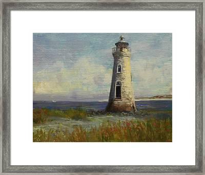 Cockspur Island Lighthouse Framed Print by Nora Sallows