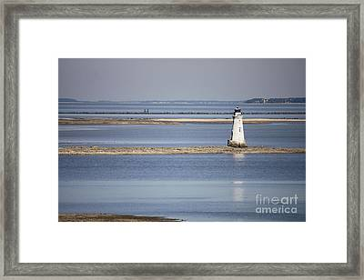 Cockspur Island Lighthouse With Jetty Framed Print by Carol Groenen