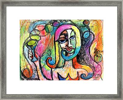 Hippy Chic Funky Color Pop Cocktail Framed Print by Genevieve Esson