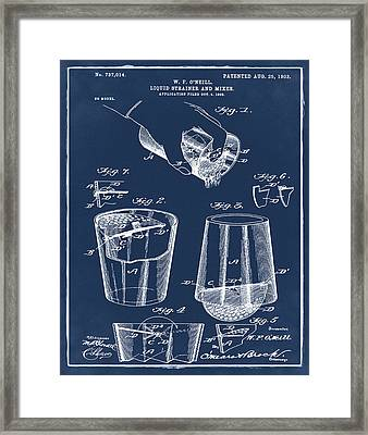 Cocktail Mixer Patent 1903 In Blue Framed Print