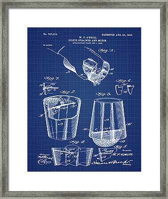 Cocktail Mixer Patent 1903 In Blueprint Framed Print