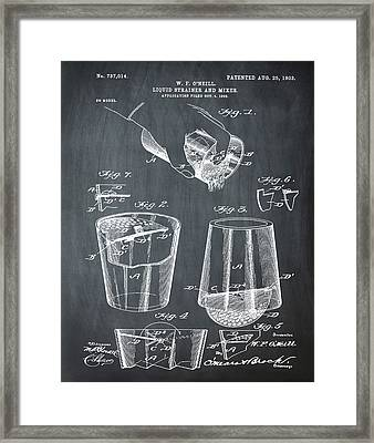 Cocktail Mixer Patent 1903 In Chalk Framed Print by Bill Cannon