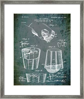 Cocktail Mixer Patent 1903 In Dirty Glass Framed Print
