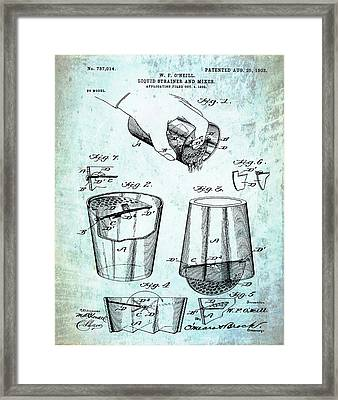 Cocktail Mixer Patent 1903 In Dirty Paper Framed Print