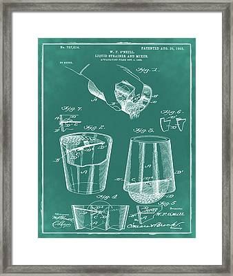 Cocktail Mixer Patent 1903 In Green Framed Print