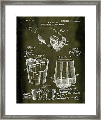 Cocktail Mixer Patent 1903 In Marble Framed Print