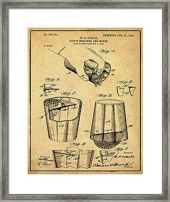 Cocktail Mixer Patent 1903 In Sepia Framed Print