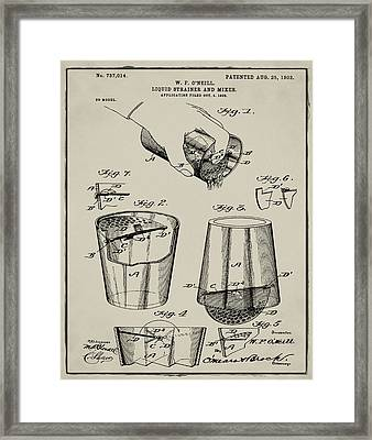 Cocktail Mixer Patent 1903 In Tan Framed Print