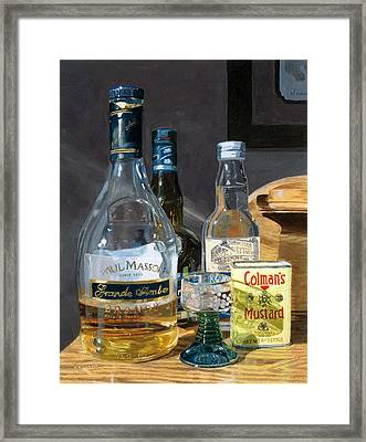 Framed Print featuring the painting Cocktails And Mustard by Lynne Reichhart