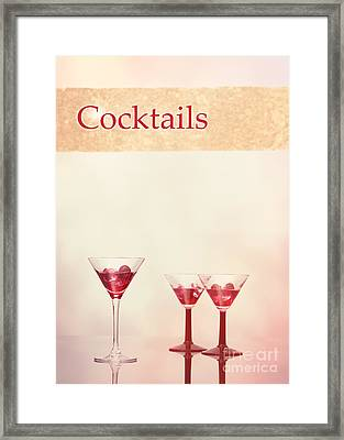 Cocktails At The Bar Framed Print by Amanda Elwell