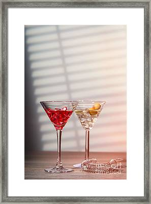 Cocktails With Strainer Framed Print by Amanda Elwell