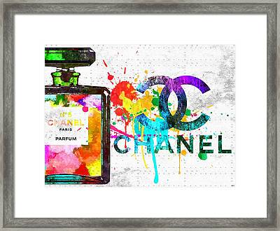 Coco Chanel No. 5 Grunge Framed Print by Daniel Janda