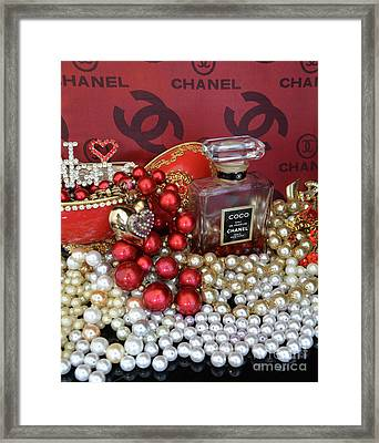 Coco Chanel On Red 4 Framed Print by To-Tam Gerwe