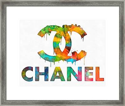 Coco Chanel Paint Splatter Color Framed Print