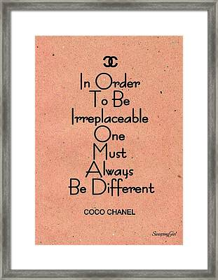 Coco -chanel Framed Print by Sweeping Girl