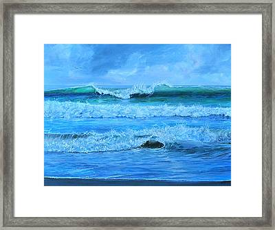 Framed Print featuring the painting Cocoa Beach Surf by AnnaJo Vahle