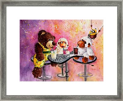 Coconut And Truffle Mcfurry Having A Drink Framed Print by Miki De Goodaboom