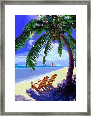 Coconut Palm Framed Print by David  Van Hulst