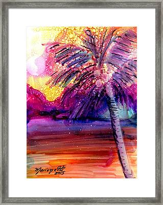 Framed Print featuring the painting Coconut Palm Tree 2 by Marionette Taboniar
